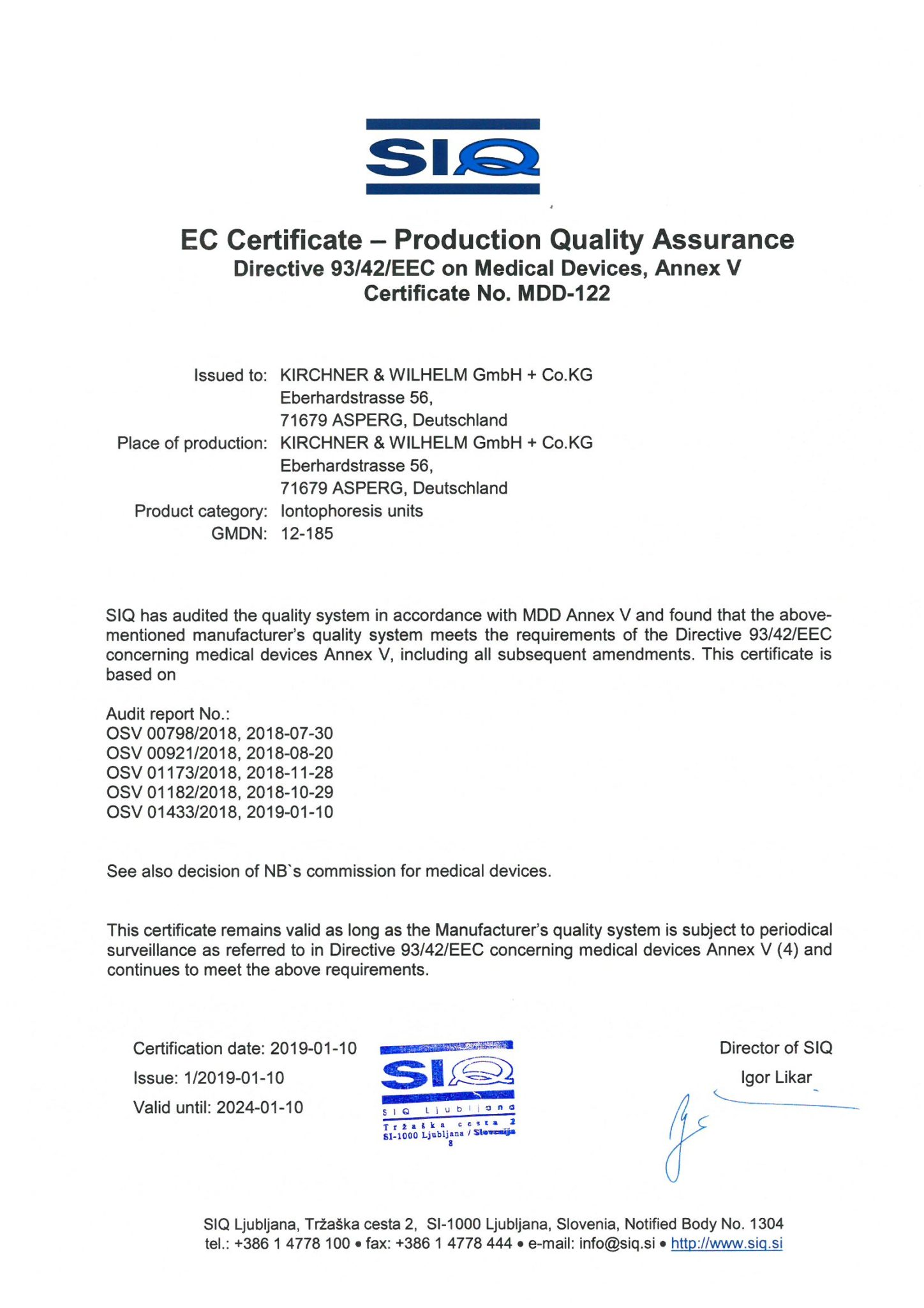 KaWe SwiSto3 Zertifikat